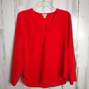 J. Crew  Orange Blouse Long Sleeves